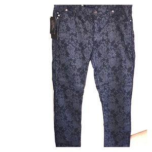 NWT- Rock & Republic Skinny Dark Floral Jeans 14